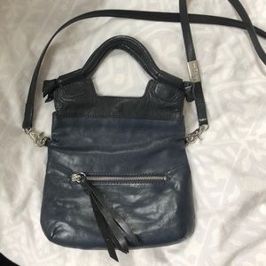 Foley + Corinna Black/Navy Leather Fold-Over Purse